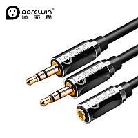 Разветвитель Dorewin 2 на 1 для наушников с микрофоном или гарнитуры для ноутбука с аудиовходами штекер 3.5мм