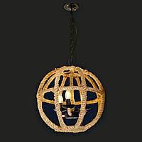 Подвесной светильник LOFT [ Cage ball in jute ] с большим плафоном (4 Lamp Edisons)