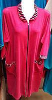 Велюровый халат с полосатыми вставками