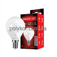 Лампа MAXUS LED G45  SMD 5W/3000K 220V Е14( 1-LED-439)