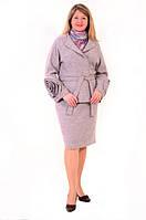 Полу-пальто серое из вареной шерсти,  женское( ПО 014-1)