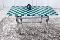 """Стол обеденный """"Токио"""" 120 см. Стекло. Раскладной. Шахматная доска (Микс Мебель)"""
