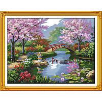 Красивый пейзаж в парке F410 Набор для вышивки крестом с печатью на ткани 14ст