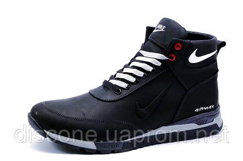 Ботинки зимние Найк Airmax, мужские, кожаные, черные