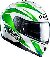 Шлем HJC IS17 Osiris MC4 бело-зеленый, L, фото 1