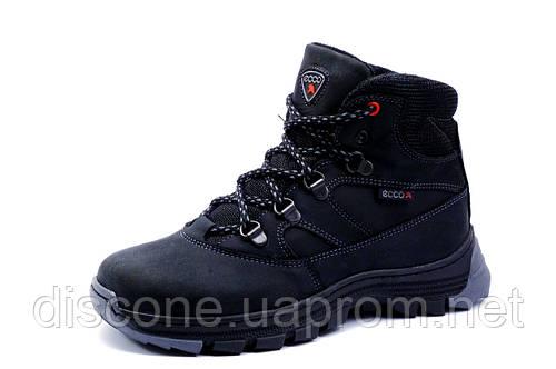 Зимние ботинки унисекс черные, натуральная кожа