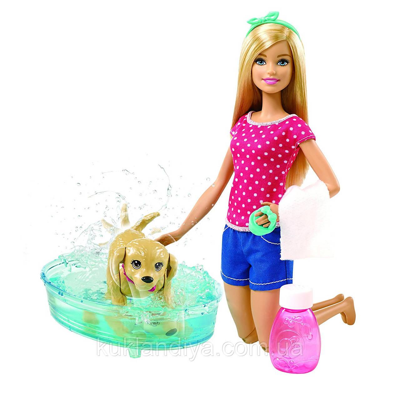 Лялька Барбі веселе купання цуценя DGY83