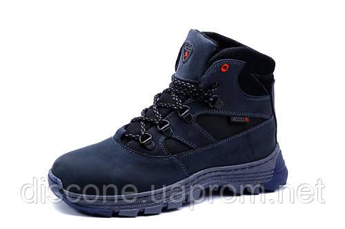 Зимние ботинки унисекс темно-синие, натуральная кожа