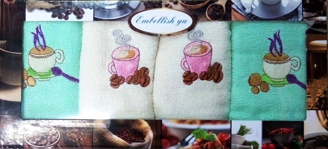 Подарочный набор кухонных махровых полотенец Кофе