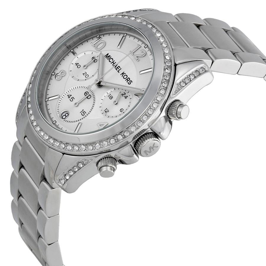Женские часы Michae-l Kor-s MK5165 Parker Silver-Tone Crystal Chrono