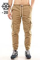 Утепленные штаны карго Ястребь, песок, хаки