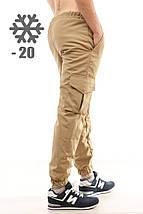 Утепленные штаны карго Ястребь, песок, хаки, фото 2