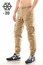 Утепленные штаны карго Ястребь, песок, хаки, фото 3