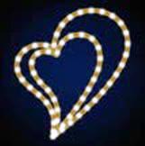 """Мотив светодиодный универсальный """"Сердце двойное"""", желтое, 0.4х0.35м, 9 Вт"""