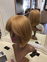 Парик из натуральных европейских волос Каре с челкой блонд