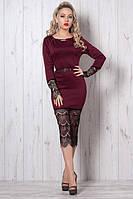 Женское трикотажное платье с гипюром- новинка осени, 44,46