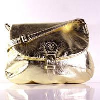 Женская кожаная сумка через плечо золотая (Италия)