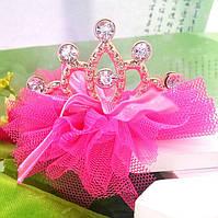 Заколка-диадема-корона на девочку розовая с золотом и стразами