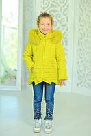Яркая теплая куртка для девочки Бант, зима