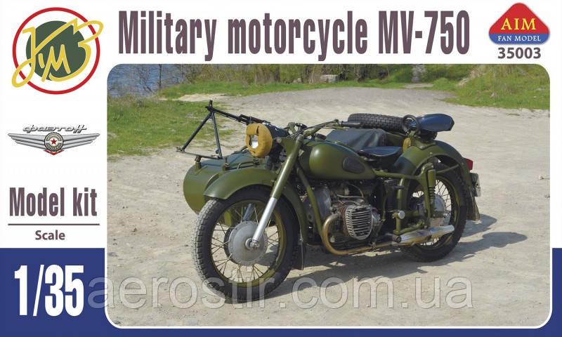 Мотоцикл МВ-750 с коляской 1/35 AIM FAN Model  35003