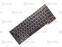 Оригинальная клавиатура Fujitsu LifeBook E743, E744, E733, E734 series, ru, black, серая рамка, подсветка