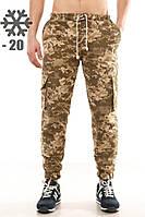 Утепленные штаны карго Ястребь, пиксель, камуфляж