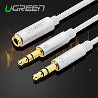 Разветвитель Ugreen 2 на 1 для наушников с микрофоном или гарнитуры для ноутбука с аудиовходами штекер 3.5мм