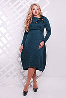 49cce32c33d828a Женское повседневное платье Шарлотта цвет бутылочный размер 52,54 / для полных  девушек