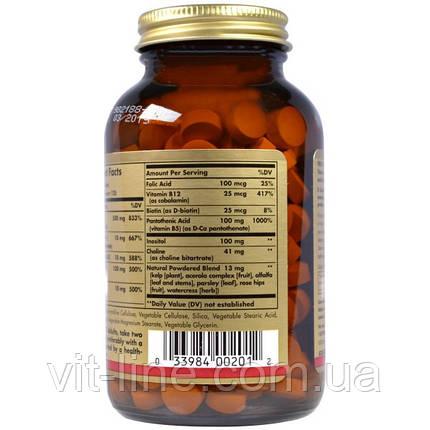 Solgar, Комплекс витаминов B, с витамином C, формула против стресса, 250 таблеток, фото 2