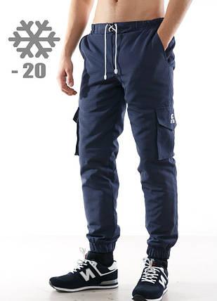 Теплые штаны на флисе Ястребь карго, синие, фото 2