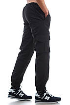 Штаны карго на флисе Ястреб, черные, фото 2