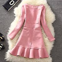 Платье женское под замш с карманами розовое