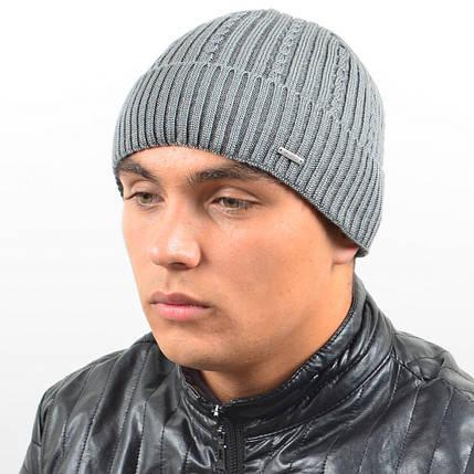 Мужская вязанная шапка NORD с отворотом серый, фото 2