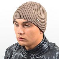Мужская вязанная шапка NORD с отворотом беж