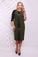Женское платье Монро оливка эко кожа размер 50-58 / для полных девушек