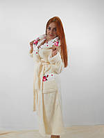 Женский махровый халат длинный с капюшоном и карманами, на поясе. Молочный цвет