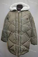 Женская зимняя куртка на замке с капюшоном хаки