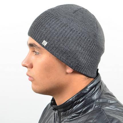 Мужская вязанная шапка NORD серый, фото 2