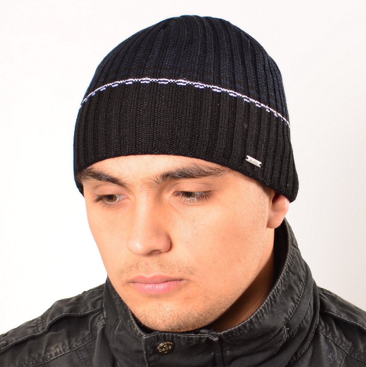 Мужская вязанная шапка на флисе Nord черный + синий