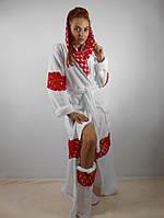 Женский махровый халат длинный с капюшоном на поясе. С кружевными вставками. Белый цвет