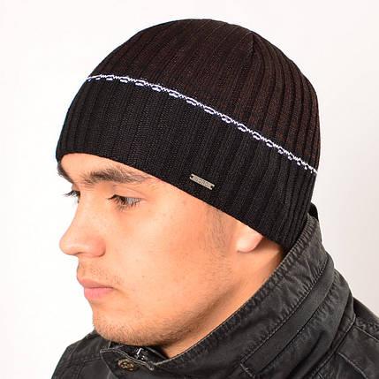 Мужская вязанная шапка на флисе Nord черный + коричневый, фото 2