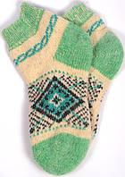 """Шерстяные короткие носки женские """"Ромб зеленый"""""""