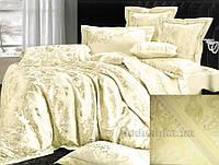 Постельное белье жаккард Goldentex GV-266-1 молочный Двуспальный евро комплект