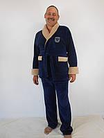 Теплый мужской махровый костюм: кофта на поясе и штаны