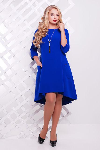 5b7761096 Женское трикотажное платье со шлейфом Милана цвет электрик размер 50-56 / для  полных девушек
