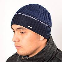 Мужская вязанная шапка на флисе Nord синий + голубой