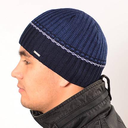 Мужская вязанная шапка на флисе Nord синий + голубой, фото 2