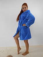 Теплый женский махровый халат с капюшоном, на поясе. Синий цвет