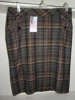 Женская теплая классическая юбка в клетку, фото 1