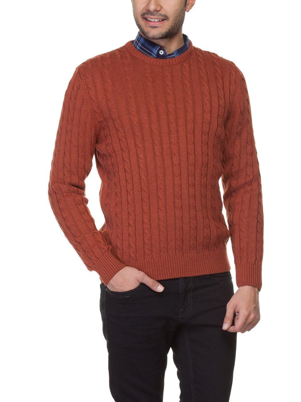 Мужской рыжий свитер LC Waikiki с мелкими косицами